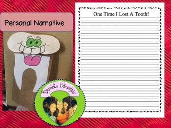 I Lost a Tooth Personal Narrative craftivity