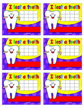 I Lost a Tooth certificate -charts- Mini Envelopes and  Reward Tags