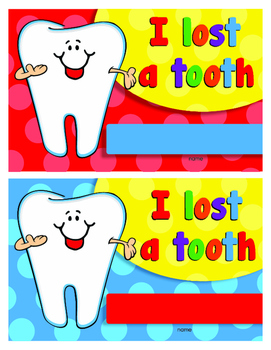 I Lost a Tooth certificate -charts- Mini Envelopes and  Re