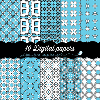I Love Aqua Blue - 10 Digital Papers