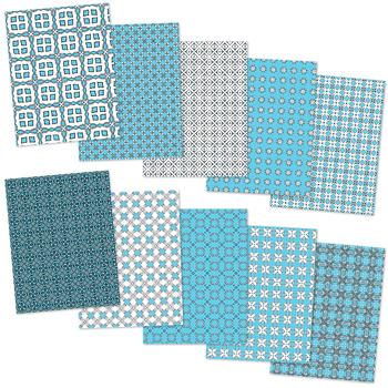 I Love Aqua Blue - 10 Digital Papers