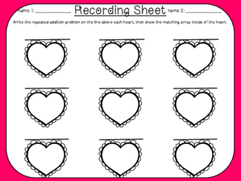I Love Arrays! - Broken Heart Matching Center with recording sheets
