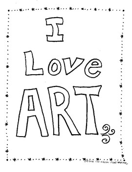 I Love Art Coloring Page