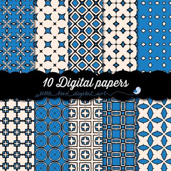 I Love Blue - 10 Digital Papers