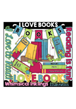 I Love Books Library Clipart Collection