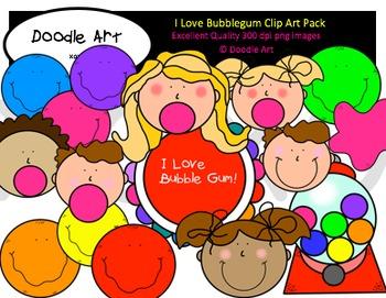 I Love Bubblegum Clipart Pack