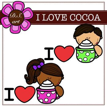 I Love Cocoa Digital Clipart (color and black&white)