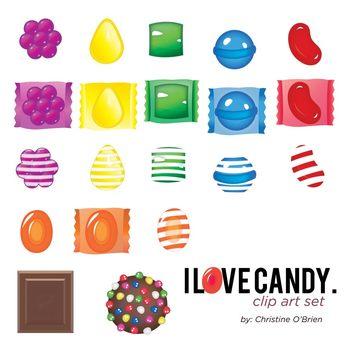 I Love Candy Clip Art / Food Clip Art Set