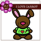 I Love Carrot Digital Clipart (color and black&white)