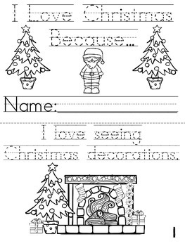 """""""I Love Christmas Because..."""" Cut, Trace & Color Printable Book!"""