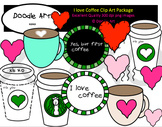 I Love Coffee Clipart Pack