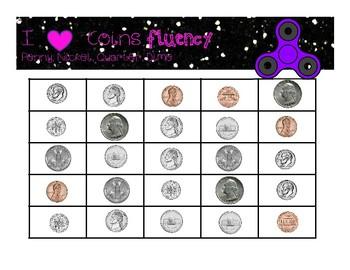 I Love Coins Fidget Fluency Bundle, Penny, Nickel, Dime and Quarter