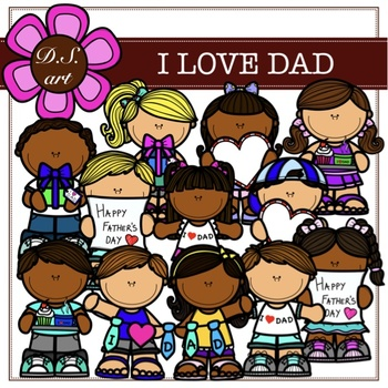 I Love DAD Digital Clipart (color and black&white)