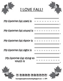 I Love Fall - 5 Senses Worksheet