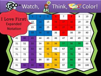I Love First Expanded Notation - Watch, Think, Color Game!