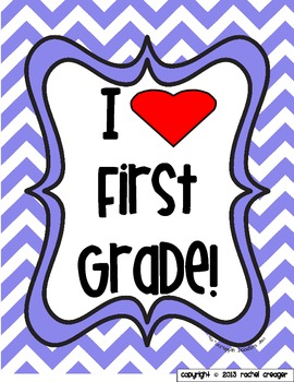 I Love First Grade Poster