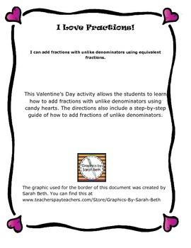I Love Fractions! : Adding Fractions of Unlike Denominators