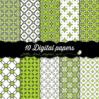 I Love Green - 10 Digital Papers