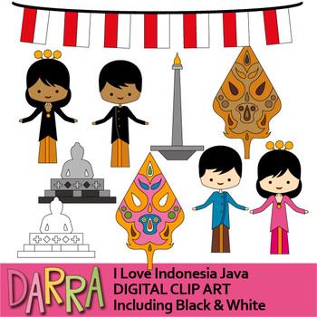 I Love Indonesia clip art - Java