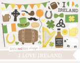 I Love Ireland Clipart; Irish, Flag, Shamrock, Beer, Whiskey, Harp, Barrel