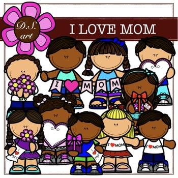 I Love MOM Digital Clipart (color and black&white)
