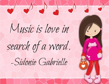 I Love Music - Valentine-themed Music Advocacy Bulletin Board