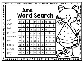 I Love My Blue Cat Word Searches for Each Month  (K-2)