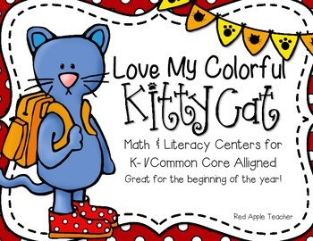I Love My Colorful Cat!--Math & Literacy Centers for K-1 Common Core Aligned