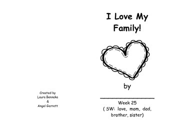 I Love My Family  Sight Word Book - Week 25
