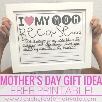 I Love My Mom Because...Free Printable