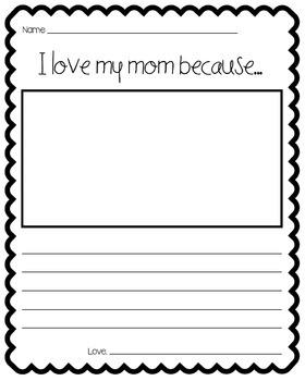 I Love My Mom Because... (Writing Template)