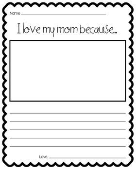I Love My Mom Because... (Writing Template)