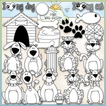 I Love My Pet Clip Art - Dog Clip Art - Cat Clip Art - CU Clip Art & B&W