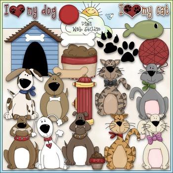 I Love My Pet Clip Art - Dog Clip Art - Cat Clip Art - CU