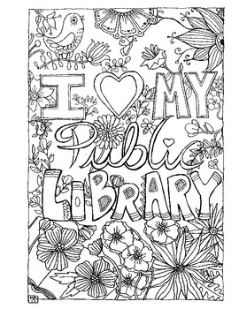 I Love My Public Library Coloring Page by The Lybrary Lyon TpT