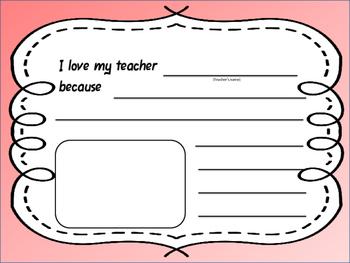 I Love My Teacher Writing Prompt
