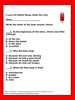 I Love My White Shoes Pete the Cat Book Unit