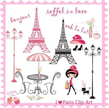 I Love Paris Clipart Set
