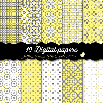 I Love Pastel Yellow - 10 Digital Papers