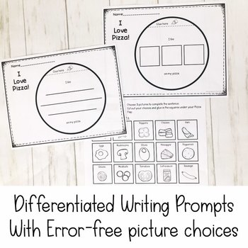 I Love Pizza! Differentiated Writing Prompt | Special Education Resource