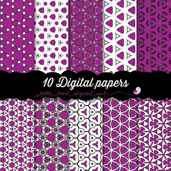 I Love Purple - 10 Digital Papers