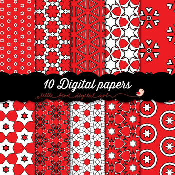 I Love Red - 10 Digital Papers