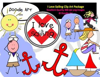 I Love Sailing Clipart Pack