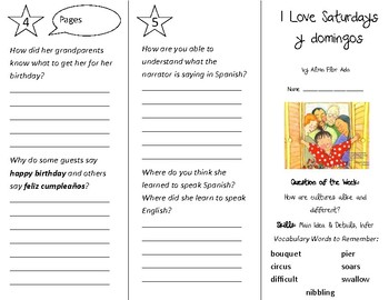 I Love Saturdays y Domingos Trifold - Reading Street 3rd Grade Unit 5 Week 2