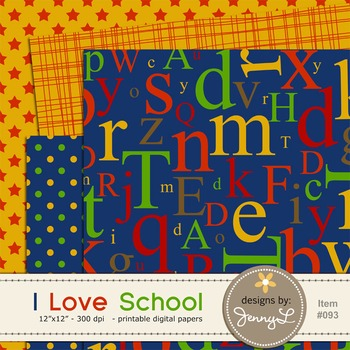 I Love School Digital Papers, Arts Craft, Teacher  14 papers