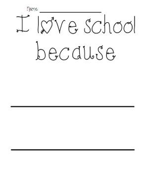 I Love School Writing Prompt Sheets