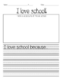 I Love School writing activity. Open House.