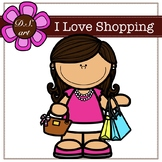 I Love Shopping Digital Clipart (color and black&white)