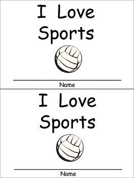 I Love Sports Emergent Reader for Kindergarten Preschool