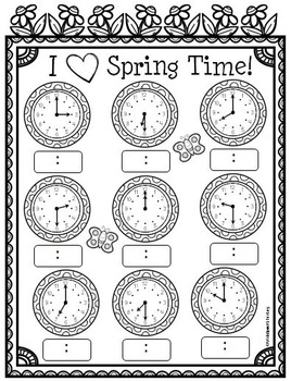 I Love Spring Time - Telling Time to the Hour and Half Hour